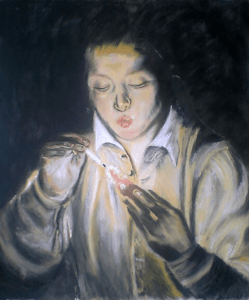 Pastel painting of a boy with a burning ember after an original by El Greco