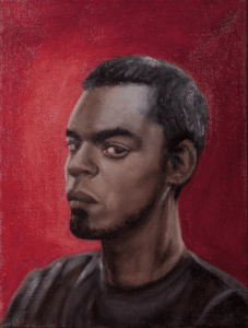 Oil painting of a male figure on a red background