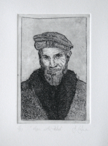 Etching of a man wearing a pakol