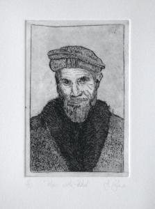 Etching of a man wearing a pakol