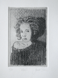 Etching of a girl
