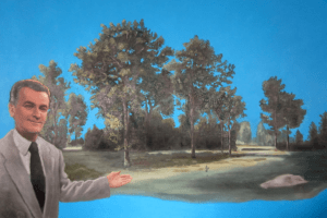 Oil on canvas painting a a man in front of a landscape