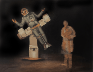 Oil painting of a man in a space suit being observed by another man in a lab coat.