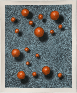 Image of an artwork featuring atom like objects floating above a grey textured surface.