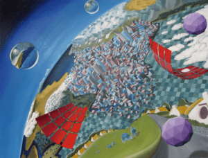 Oil painting of a surreal landscape with floating orb like objects and other weirdness.