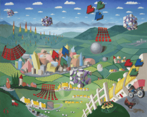 Oil painting of a surreal landscape with floating objects